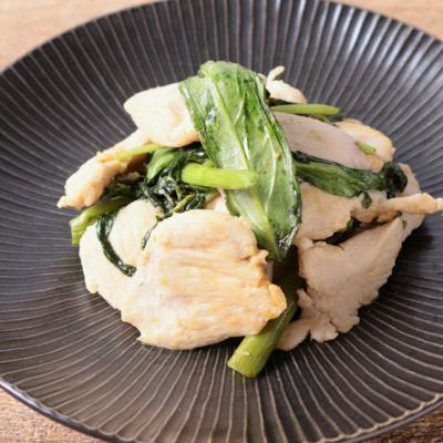 鶏むね肉と空芯菜炒め