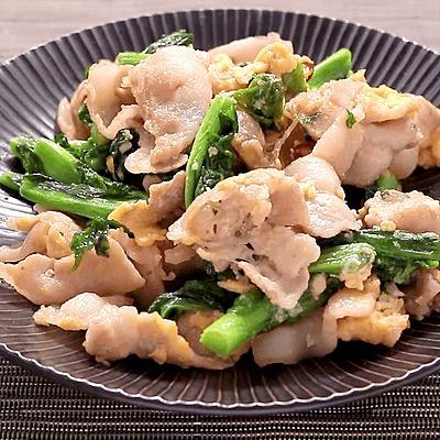 菜の花と豚バラ肉の中華炒め