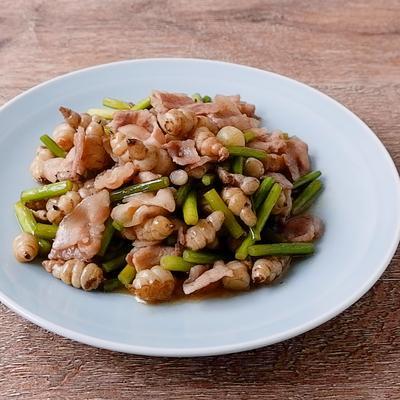 ちょろぎと豚バラ肉の炒め物
