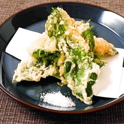 天ぷら粉で簡単モロヘイヤの天ぷら