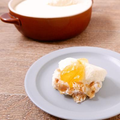 グラタン皿で マーマレードチーズケーキ