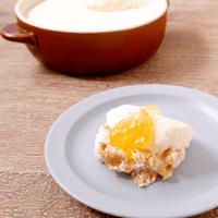 グラタン型でマーマレードチーズケーキ
