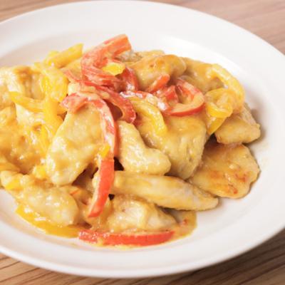 鶏むね肉とパプリカの照りマヨ炒め