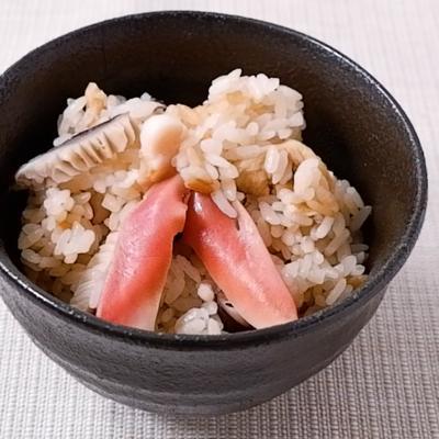 ホッキ貝と干し椎茸の炊き込みごはん