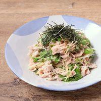 水菜と豚しゃぶの明太マヨサラダ