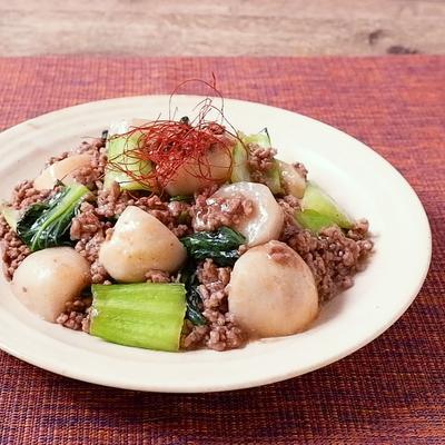 里芋とチンゲン菜のオイスターソース煮込み
