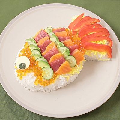 鯉のぼりの豪華海鮮ちらし寿司
