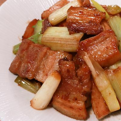 豚バラと長ネギのゆず胡椒炒め