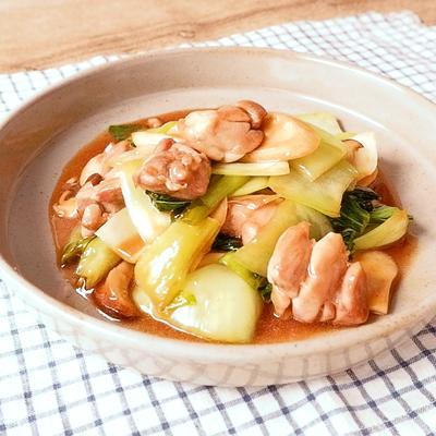 チンゲン菜と鶏肉の中華風炒め