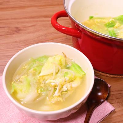 野菜たっぷり もやしとキャベツの春雨スープ
