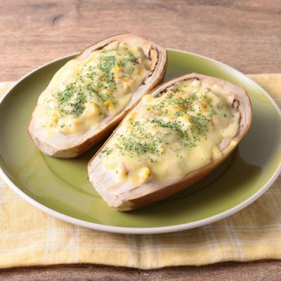 白ナスでツナマヨコーンチーズボード