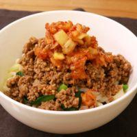 簡単!小松菜とひき肉キムチうどん