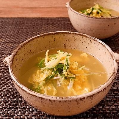 ふわふわ卵と水菜のスープ