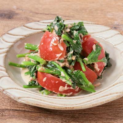 ほうれん草とトマトの塩昆布ツナサラダ