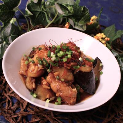 鶏肉と茄子の香味醤油炒め