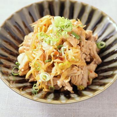 鶏せせりと香味野菜のピリ辛ポン酢和え