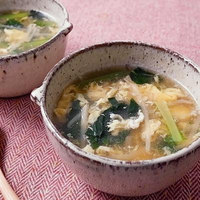 もやしと小松菜の中華スープ