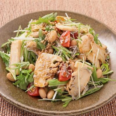 グリルたけのこと水菜の和風サラダ