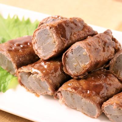 牛薄切り肉とこんにゃくの甘辛巻き