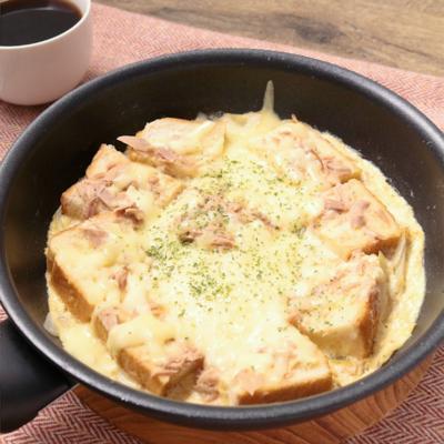 ワンパン朝ごはん ツナとチーズのパンプディング