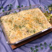 ホワイトソースから簡単に作る!鶏肉とごろごろマッシュルームのマカロニグラタン