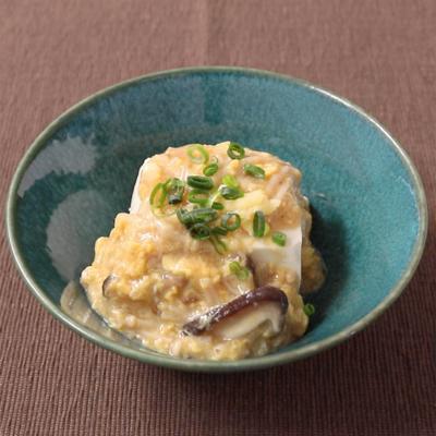 きのこと卵のあんかけ豆腐
