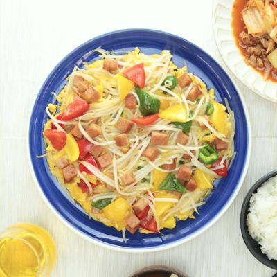 ポークランチョンミートと彩り野菜の卵とじ
