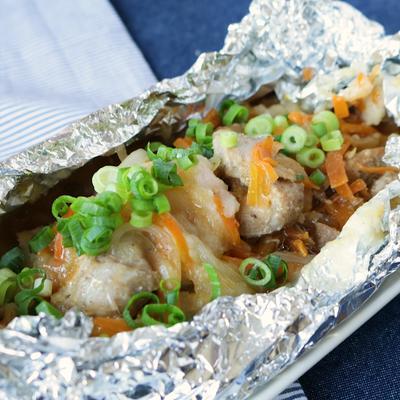 山椒香る 鶏もも肉のとろろホイル焼き