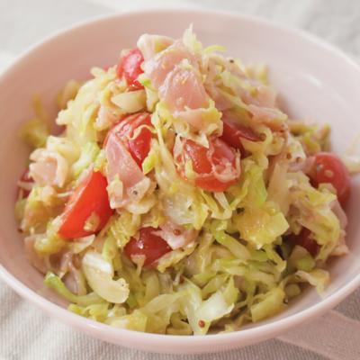 キャベツと生ハムの簡単サラダ