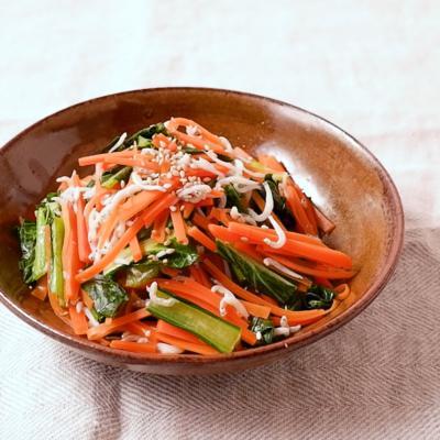 しらすの旨み にんじんと小松菜のさっと煮