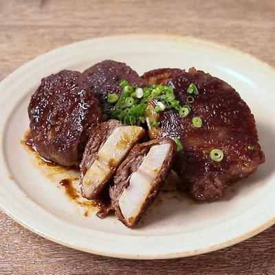 わさびソースが美味しい レンコンの牛肉巻き
