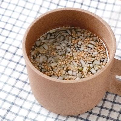 マグカップで 即席海苔中華スープ