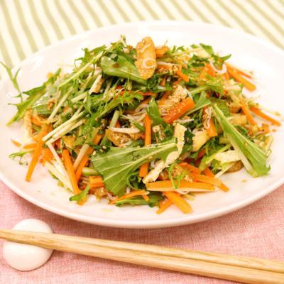 油揚げと水菜のサッパリりんご酢サラダ
