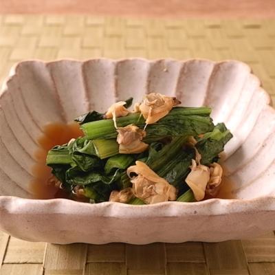 レンジで作る あさりの水煮缶と小松菜の煮浸し