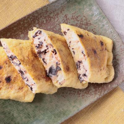 キクラゲと豆腐の明太チーズ巾着