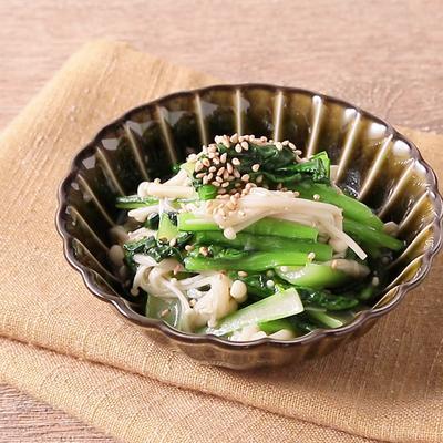 梅肉でさっぱり えのきと小松菜の和え物