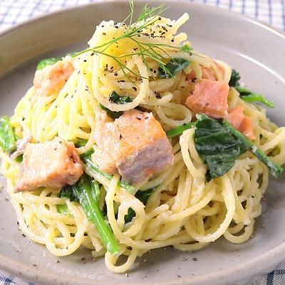 塩鮭とほうれん草のクリームスパゲッティ