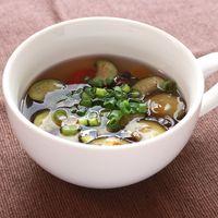 ミニトマトとナスの中華スープ