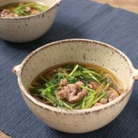 牛肉と三つ葉の簡単スープ