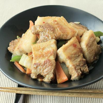 豚バラブロック肉の野菜炒め