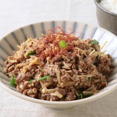 ご飯がすすむ えのきと挽き肉のXO醤炒め