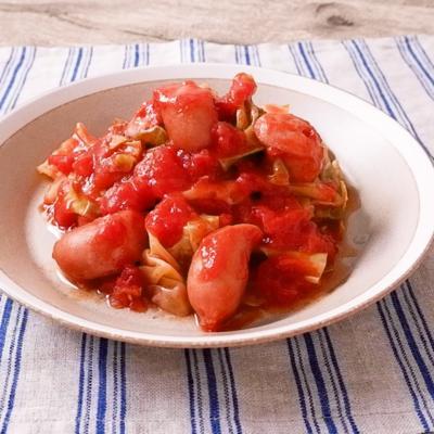 トマト缶を使って キャベツとウインナーのトマト煮