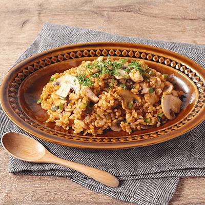 フライパンでつくる 玄米ジャンバラヤ風