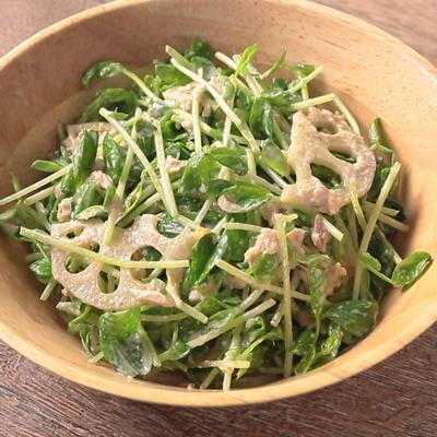 ゆず胡椒香る 豆苗とツナれんこんのマヨサラダ