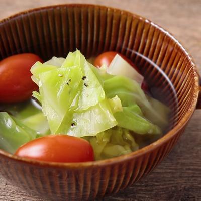 春キャベツとミニトマトのコンソメスープ