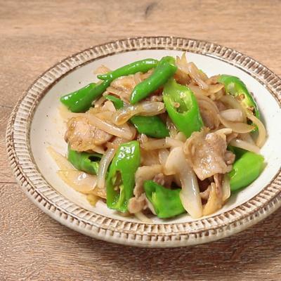 甘長唐辛子と豚バラ肉の中華風炒め