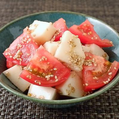 10分で作れる トマトと長芋のめんつゆごま和え