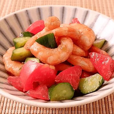 エビとトマトときゅうりの簡単中華風サラダ