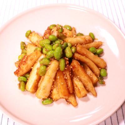 長芋と枝豆のごま味噌炒め