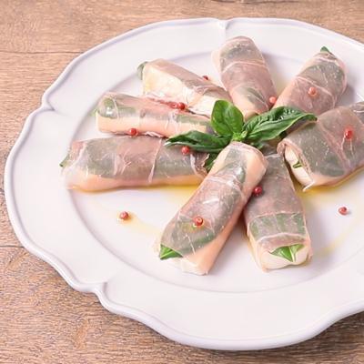 塩豆腐とバジルの生ハム巻き